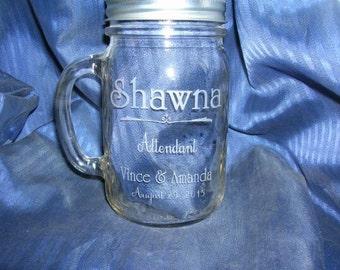 Etched  mason jar, engraved mason jar, etched beer jar, engraved beer jar, custom mason jar, personalized mason jar, groomsman mason jar