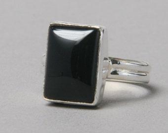 Black Onyx Ring Sterling Silver US 10 - gemstone ring