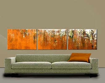 EXTRA LARGE 30x72 Triple Panel Textured Original Abstract Painting by Thomas John