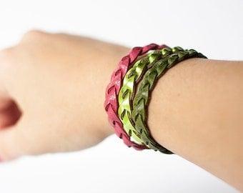 Braided Leather Bracelet Trio / Watermelon