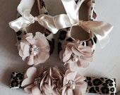 Leopard Baby girl crib soft sole shoes and headband set,Booties -Baby Crib Shoes - Leopard Baby shoes