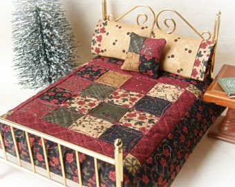 "Dollhouse Miniature Quilt ""Christmas Night""  w/ 2 Matching Bed Pillows & Decorator Pillow - 1:12 Scale"