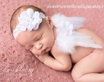 Baby Girl Angel Wings Angel Photo Prop Baby Photo Prop White Angel Wings Newborn Angel Wings Angel Wings And Headband Newborn Photo Prop