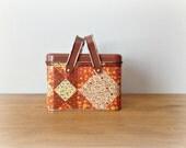 Retro Vintage Tin Lunch Box Orange 70s Patchwork