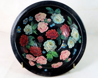 Art Deco Decoupage Bowl, Pearsons of Chesterfield Stoneware Hand-Decorated Bargeware Canal Ware Shabby Chic Roses Pottery Fruit Bowl 1940s