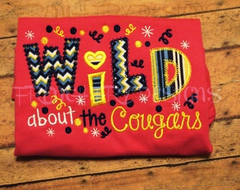 Wild about Cougars Appliqued T-Shirt Customized