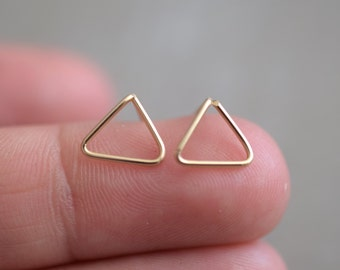 Tiny Triangle Studs, Gold Filled or Sterling Silver Geometric Earrings