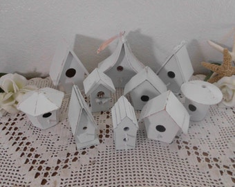 White Shabby Chic Bird House Wedding Decoration Rustic Distressed English Garden Cottage French Country Farmhouse Home Decor Set Collection