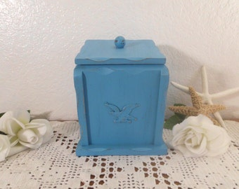 Turquoise Blue Rustic Shabby Chic Distressed Storage Organizer Box Upcycled Vintage Wood Canister Beach Cottage Coastal Seaside Kitchen Home