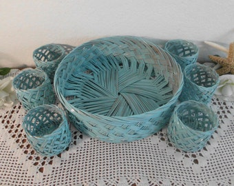 Aqua Turquoise Teal Blue Shabby Chic Vintage Wicker Serving Tray Tumbler Glass Holder Beach Cottage Coastal Tropical Island Pool Home Decor