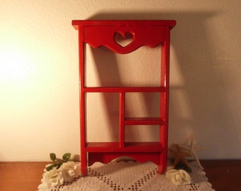 Rustic Red Shabby Chic Distressed Heart Shelf Beach Cottage French Country Farmhouse Cabin Home Decor Wall Hanging Display Organizer Curio