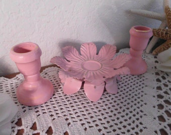 Pink Unity Candle Holder Set Rustic Shabby Chic Distressed Wedding Decoration French Country Farmhouse Romantic Cottage Victorian Home Decor