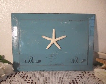 Starfish Key Rack Aqua Blue Rustic Shabby Chic Distressed Wood Organizer Beach Cottage Coastal Seaside Tropical Island Nautical Home Decor