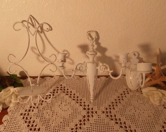 White Shabby Chic Candleholder Set Rustic Candle Holder Wall Sconce Collection Beach Cottage French Country Farmhouse Romantic Home Decor