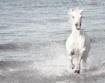 White Horse, Horse Photography, White Wall Art, Equestrian Print, Nature Photography, Camargue Horse, Horse Running, Nature Art Print, Water