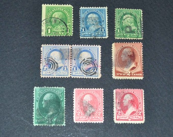 9 Old time US stamps include #210  #219 #220 #252  1883 1895, 1897 very very rare  STEAL this