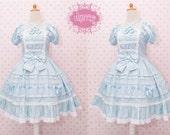 Blue Princess Dress, Blue Polka Dot Dress, Alice In Wonderland, Victorian Dress, Fairy Princess Dress, Lolita Dress, Elegant Dress