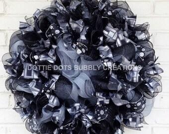 Black & Silver Polka Dot Plaid Mesh Halloween, Formal Mesh Wreath