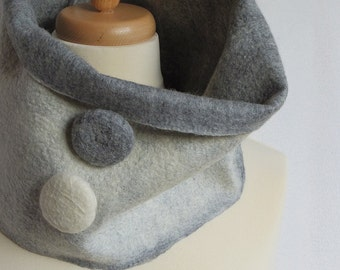 Soft wet felted pure wool unisex cowl with huge felt decorative buttons, one-of-a-kind unique garment