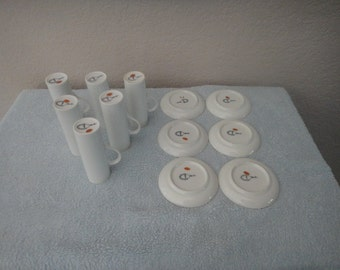 LaGardo Tackett vintage espresso cups and saucers by Schmid lot of 6 Japan 1960s