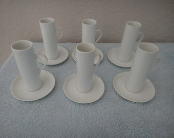 LaGardo Tackett vintage 2 oz. espresso cups and saucers by Schmid lot of 6 Japan 1960s