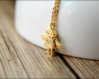 Tiny Robot Necklace with Diamond Heart, Available in Silver or Gold