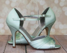 Wedding Shoes --Mint Green Peep Toe Mary Jane Wedding Shoes  -- CHOOSE YOUR COLOR