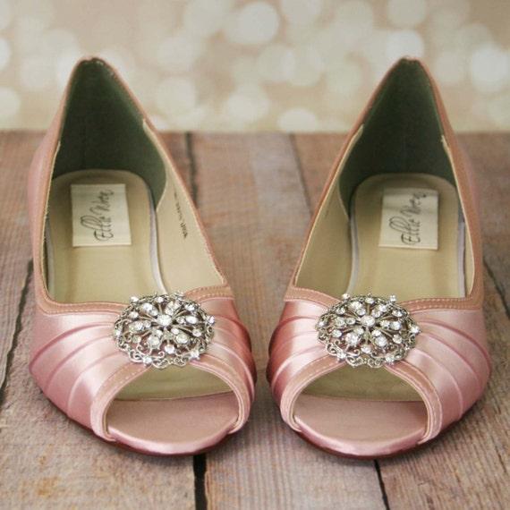 Wedding Shoes Pink Wedge Bridal Light Vintage Antique