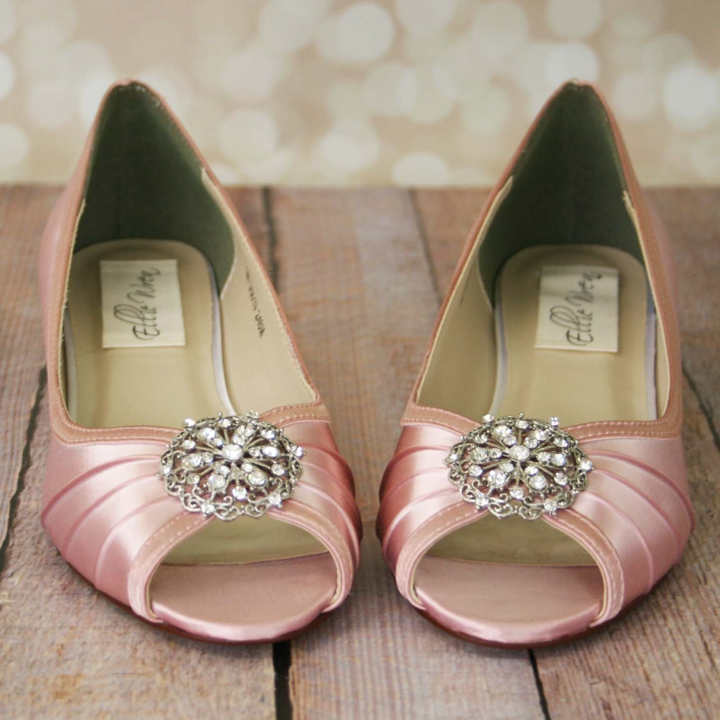 Wedding Shoes Pink / Wedge Bridal Shoes / Light Pink Shoes