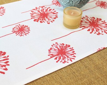 Coral Table Runner Table Runner Coral Wedding Runner Coral Tablecloth, Coral Linens, Dandelion