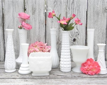Milk Glass Vase Collection, 9 Vases for Home Decor, Assorted Milk Glass Vase Collection,  Shabby Chic Wedding Vase Decor