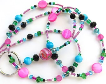 PINK TROPICS- Beaded ID Lanyard- Mother of Pearl Beads, Gorgeous Sparkling Crystals, and Lucite Beads (Magnetic Clasp)