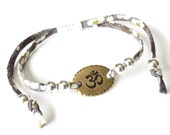 Yoga bracelet with Ohm charm, Liberty fabric bracelet in charcoal grey, sterling silver beads, best friend gift, UK bracelet shop