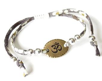 Yoga bracelet with Ohm charm, Liberty fabric bracelet in charcoal grey, sterling silver beads, best friend gift, UK bracelet shop