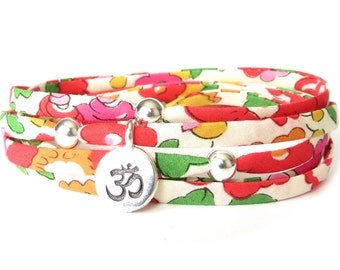Yoga bracelet with Liberty fabric and Om charm, Yoga gift for best friend, wrap bracelet for girls with sterling silver beads, gift for her