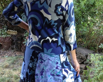 Upcycled Cotton Dress, Lg to XL, Recycled Knits, Blues, Grey and Black, #D127