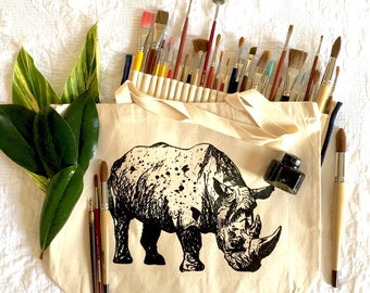 "Large Natural Canvas Bag - Original Art Print Black & White Inked Rhino - Size 15""x20"" Bag with Animal"