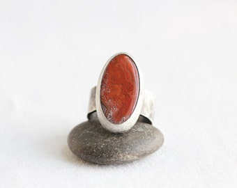 Crazy Lace Agate & Sterling Ring, Designer Gemstone, Red Orbs in Red Lace, Unisex, Size 7.25