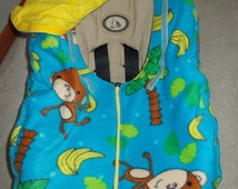 Gender Neutral Infant Baby Car Seat Cover Boy Girl Blue Fleece with Monkey Banana and Palm Trees Yellow Flannel