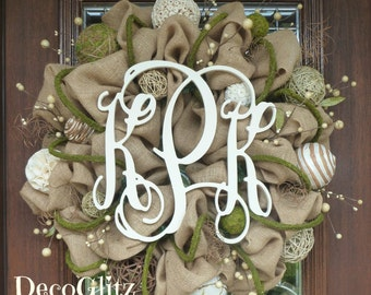 "24"" BURLAP and MOSS MONOGRAM Wreath"
