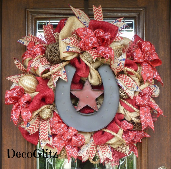 Burlap western horseshoe wreath with lights by decoglitz for Burlap wreath with lights