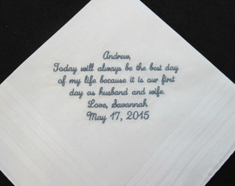 Wedding Handkerchief the from the Bride to her Groom