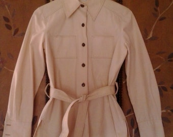 70s Saks Fifth Avenue cream shirt jacket
