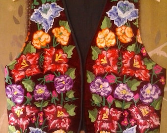80s embroidered flower power waistcoat