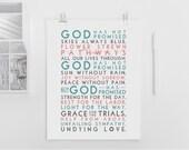 God has promised. Hymn. Printable Design. 11x14 to print on A3. DIY. PDF.
