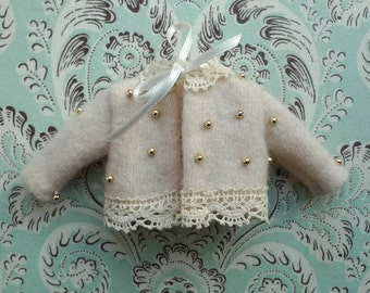 SALE % Cream and Gold Wool Blythe Cardigan