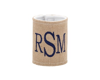 Monogrammed burlap can drink/ water bottle holder