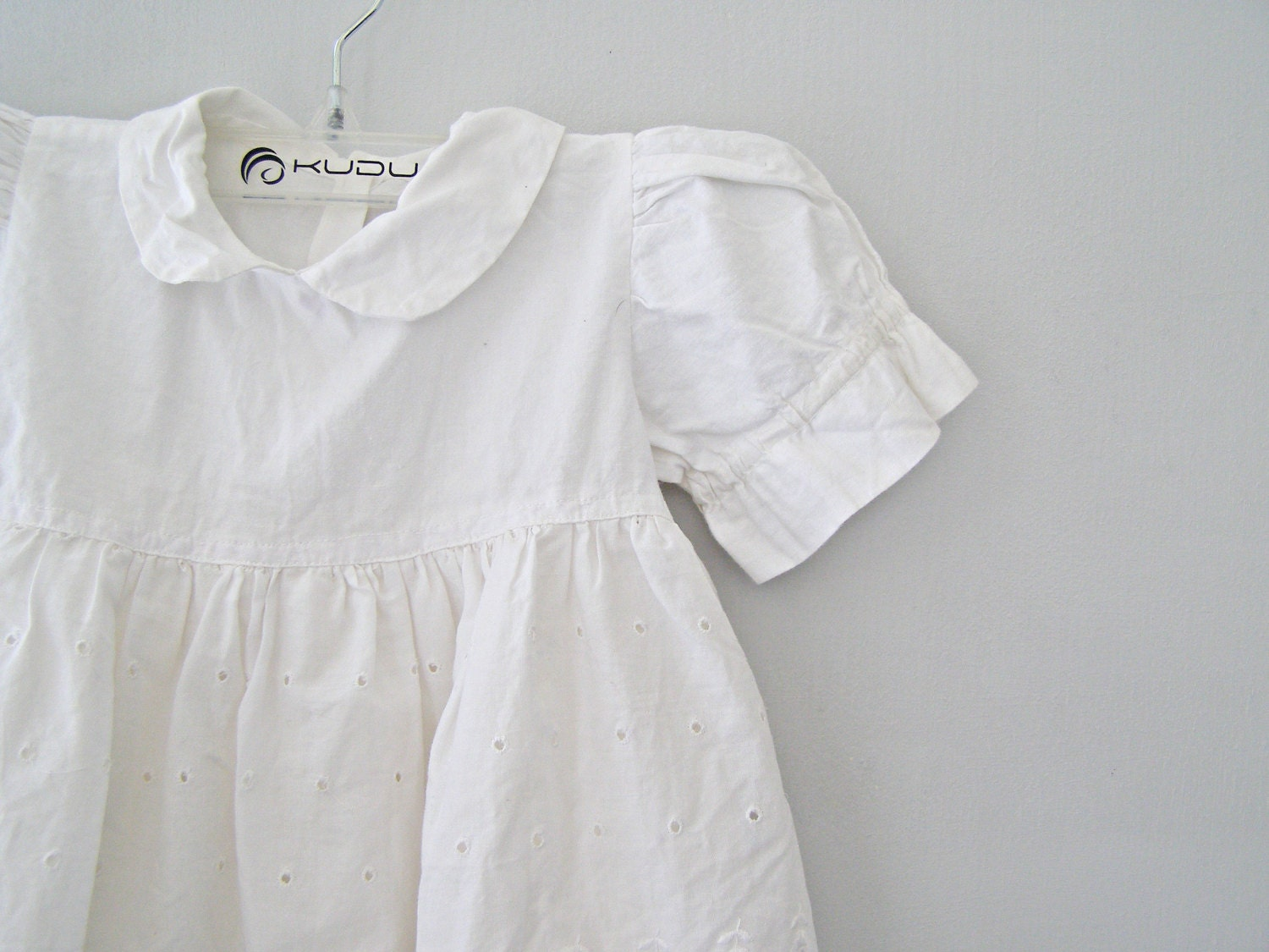White Baby Girl Dress Vintage Eyelet Lace Cotton by MeshuMaSH