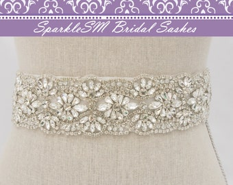 Crystal Sash, Beaded Bridal Belt, Bridal Sash, Wedding Dress Sash, Rhinestone Sash, Statement Sash, Swarovski Sash, Crystal Sash, Rhinestone