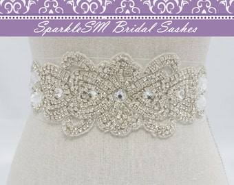 Wedding sash, Bridal belt, Bridal sash - Satin Ribbon with Crystal and Rhinestone Beaded Applique,  Couture Bridal Sash - Nathalie